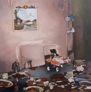 scène  - huile toile 150x150 2013