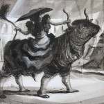 Tauromachie - dessin encre de Chine