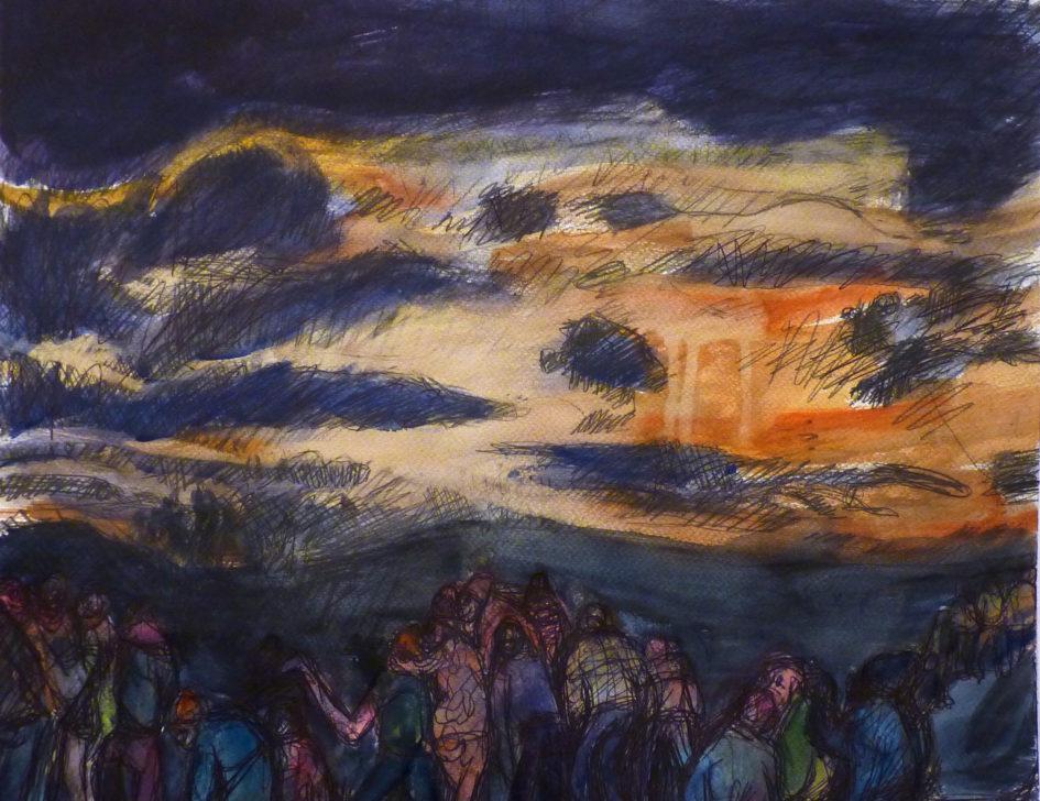 Sans titre, aquarelle, encre sur papier, 30x4cm, 2017