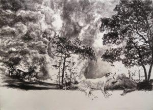 Sans titre 7, 2018, fusain sur papier, 56x76 cm