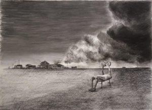 Sans titre 8, 2018, fusain, pastel sur papier, 56x76 cm