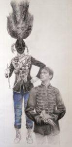 Sans titre, 2016, pointe noire, crayon, pastel sur papier, 38x52 cm