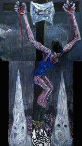 Crucifixion, acrylique sur toile, 116x205cm, 2008