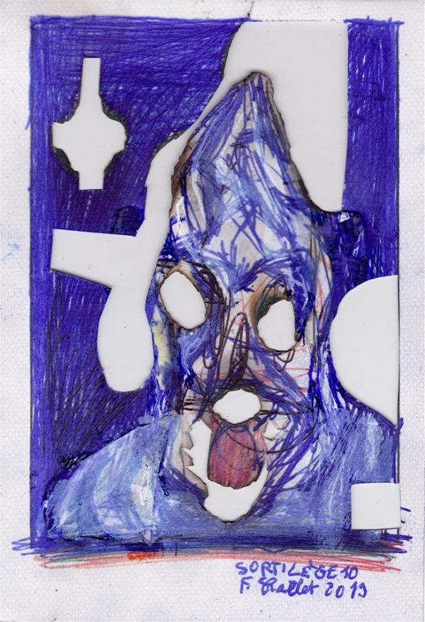 Sortilèges - Bic, correcteur, feu sur collage papier - 21x14,85cm - 2019