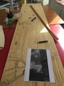 Dessin sur support bois 1